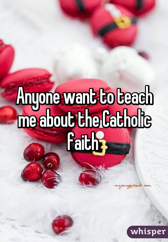Anyone want to teach me about the Catholic faith