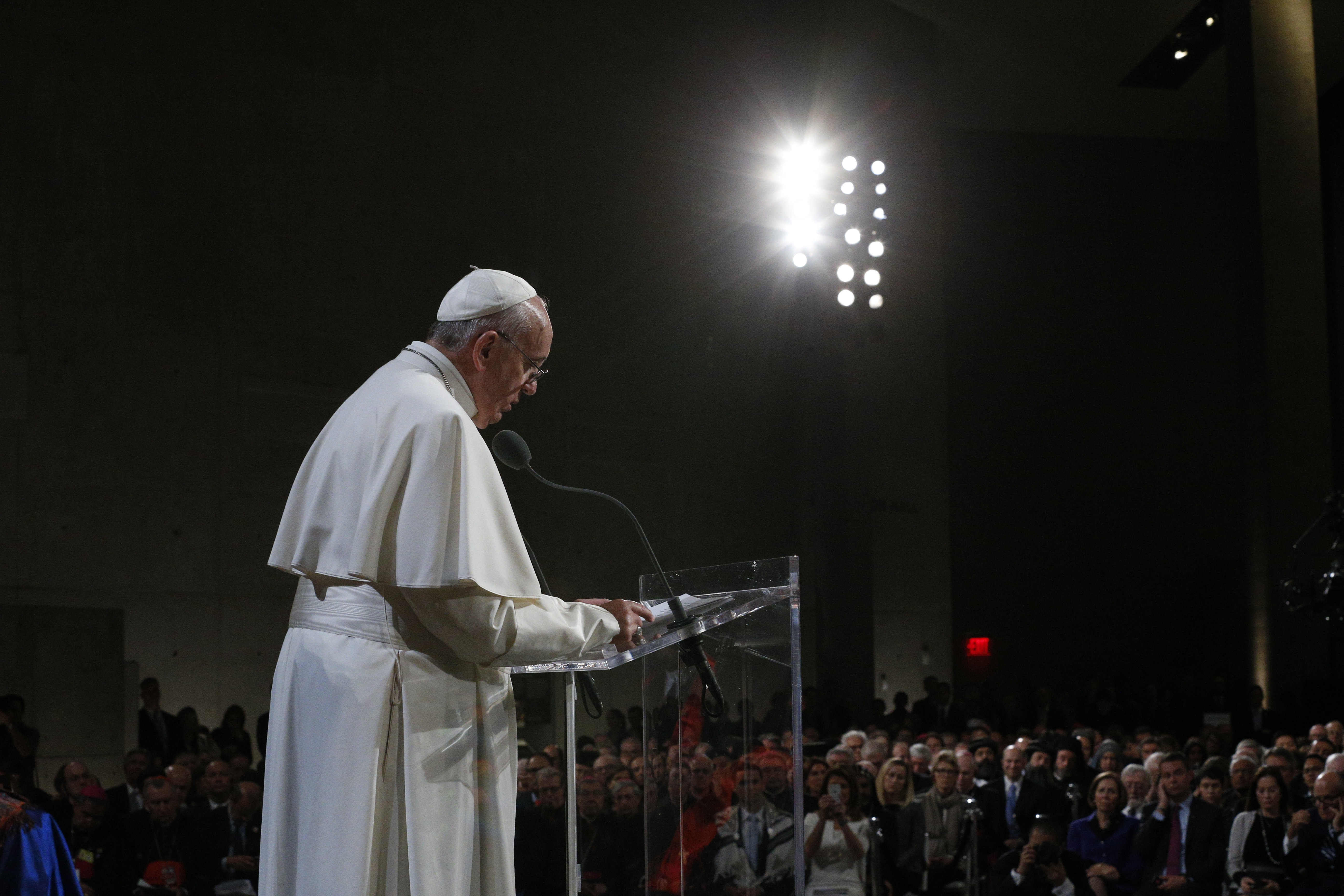 Pope Francis gathers with representatives of religious communities in Foundation Hall at ground zero 9/11 Memorial and Museum in New York