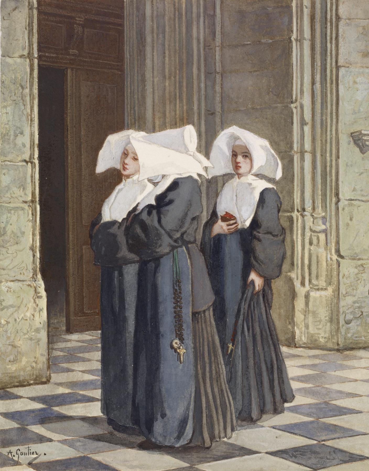 Armand_Gautier_-_Three_Nuns_in_the_Portal_of_a_Church_-_Walters_371383