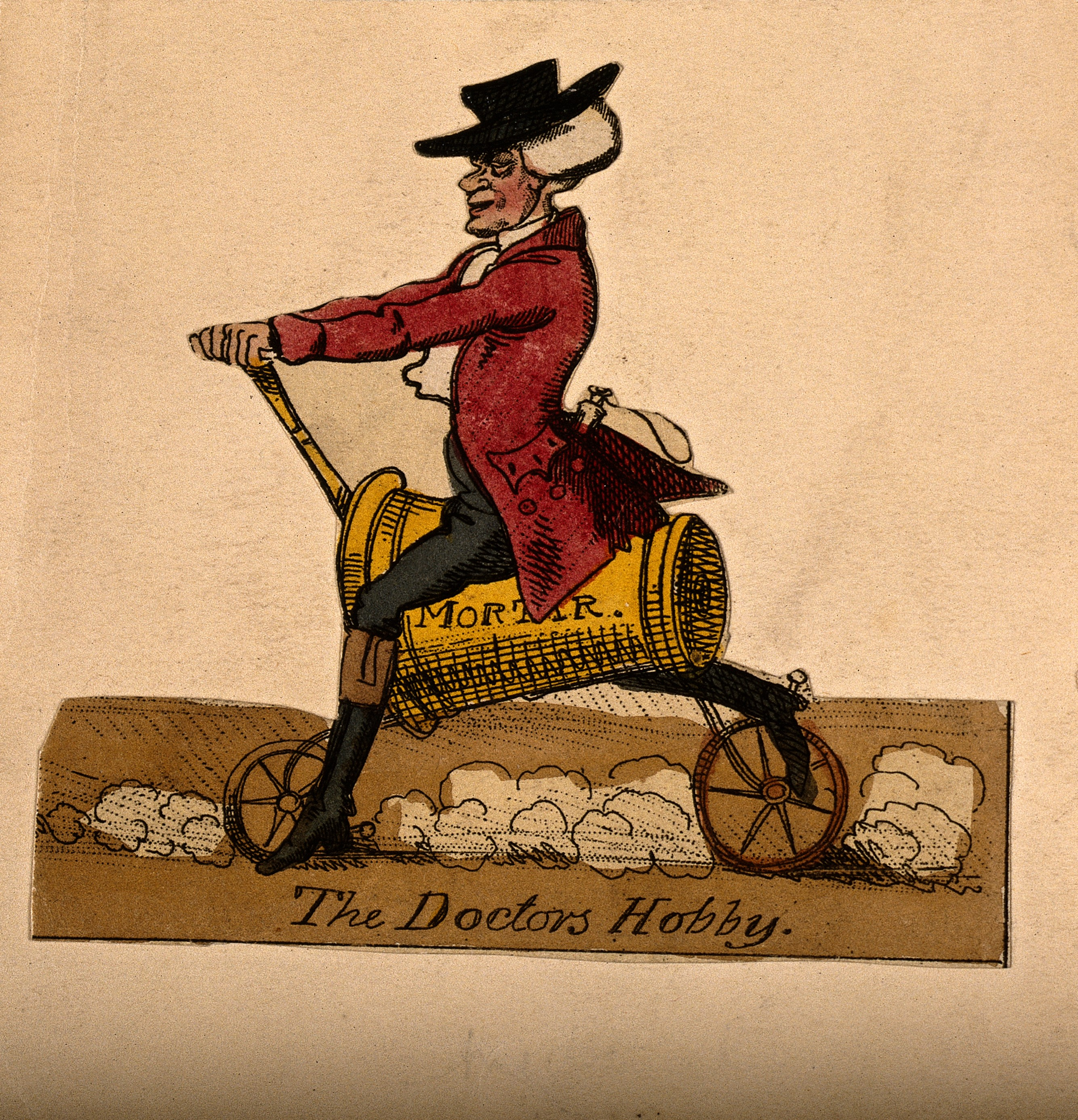 V0010937 A doctor riding his hobby-horse; represented by a pestle and