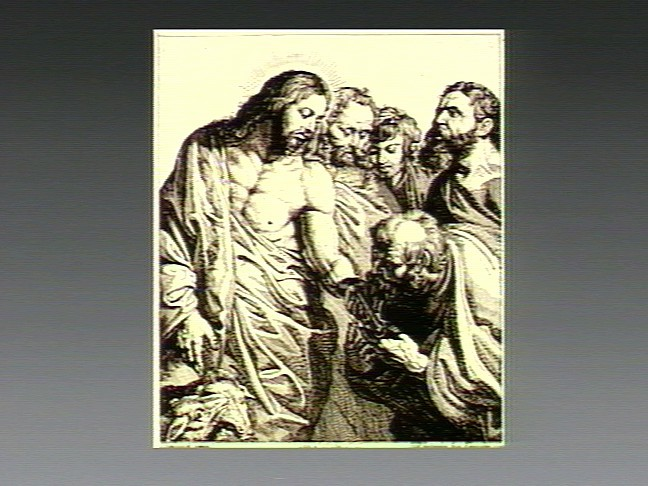 V0034729 Jesus appoints Peter as head of the church; Peter kisses his
