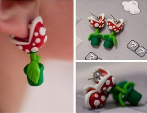 polymer mario earrings plants