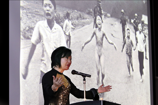 Vietnamese-Canadian Phan Thi Kim Phuc delivers her speech before her June 8, 1972 Pulitzer-Prize-winning photograph during the Vietnam war, during a lecture meeting in Nagoya, Aichi prefecture on April 13, 2013. Kim Phuc met with some 300 spectators in her first visit to Japan. AFP PHOTO / JIJI PRESS