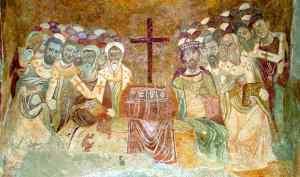 Primeiro Concílio de Niceia, (325 d.C.) e São Nicolau de Bari (Mira). Afresco bizantino na Igreja de São Nicolau em Mira (atual Demre, na Turquia)