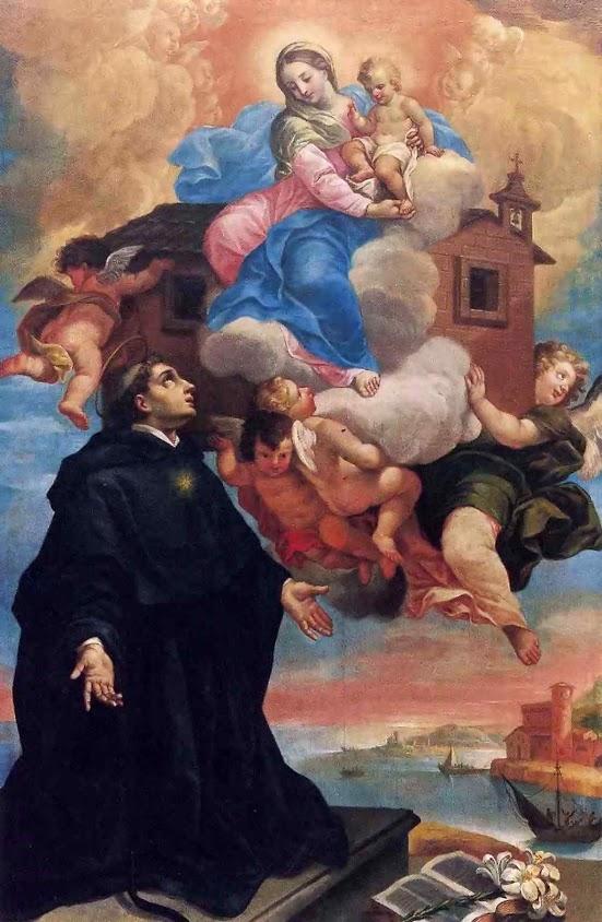 A Santa Casa de Loreto transportada pelos anjos. São Nicolau de Tolentino (1245 – 1305) teve a visão do fato. Antonio Liozzi (1730–1807) ou Ubaldo Ricci di Fermo (1669-1732), igreja de San Michele, S.Angelo in Pontano, Itália.