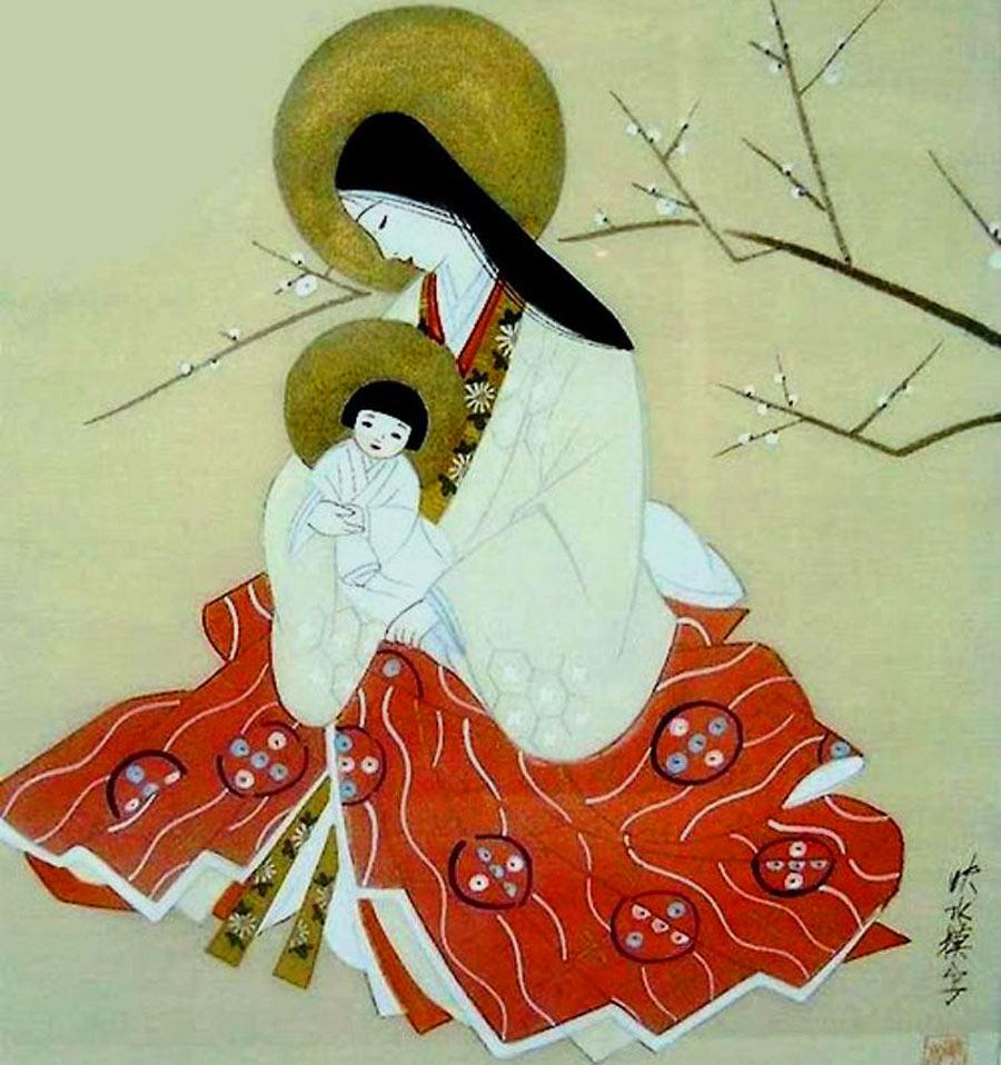 Madonna con bambino giapponese